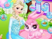 Printesa Elsa ingrijeste un iepuras